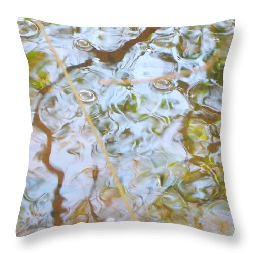 Water With Butbles And Many Coolers Throw Pillow featuring the pyrography Allusion by Angelina Sachs