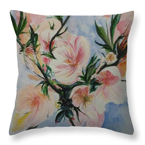 Flowers Throw Pillow featuring the painting Almond Blossom by Lizzy Forrester