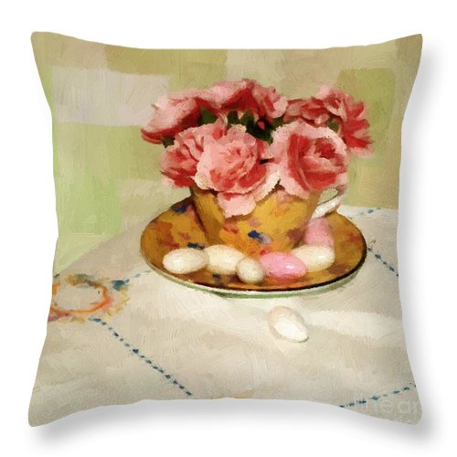 Almonds Throw Pillow featuring the painting Almond Blossom Tea by RC DeWinter