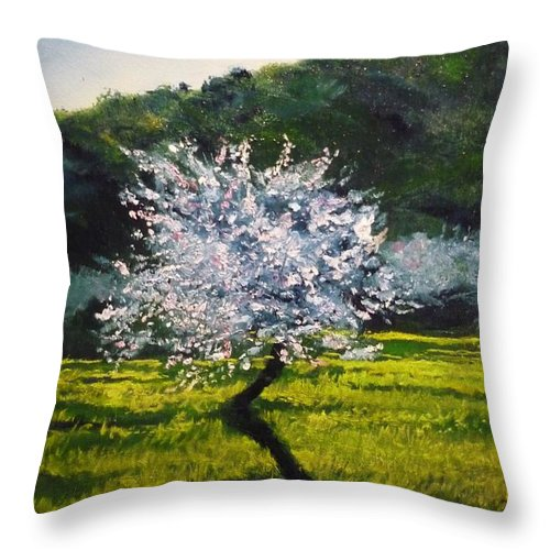 Almond Tree Throw Pillow featuring the painting Almond Tree In Blossom by Lizzy Forrester