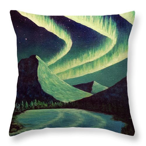 Aurora Borealis Northern Lights Lake Reflection Mountains Night Sky Throw Pillow featuring the painting Almost Alliteration by Beth Waltz