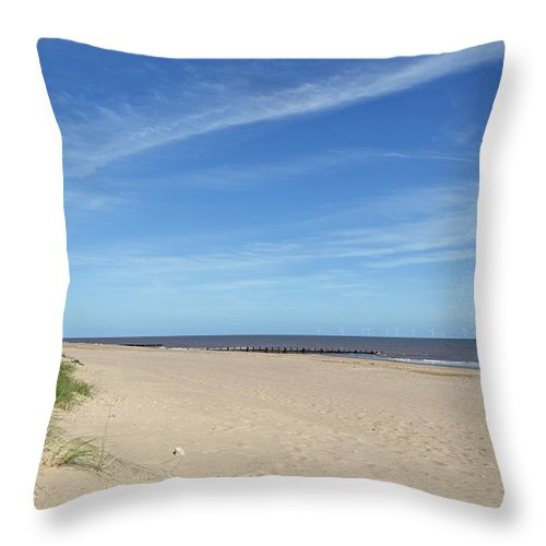 Skegness Throw Pillow featuring the photograph Almost Deserted Beach At Skegness by Rod Johnson