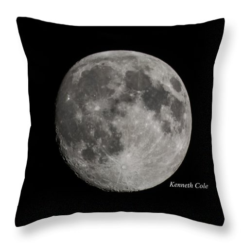 Almost A Full Moon Photograph Throw Pillow featuring the photograph Almost Full Moon by Kenneth Cole
