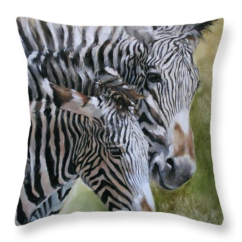 Wildlife Art Throw Pillow featuring the painting Almost Grown by Debra Jones