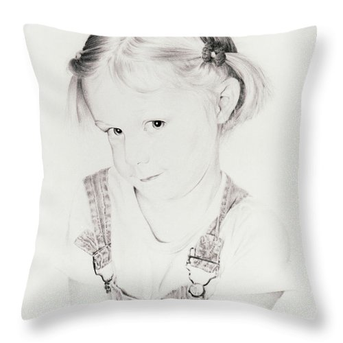 Portrait Throw Pillow featuring the drawing Almost Perfect by Rachel Christine Nowicki