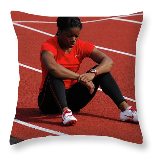 Canadian Track And Field National Championships 2011 Throw Pillow featuring the photograph Almost Ready by Bob Christopher