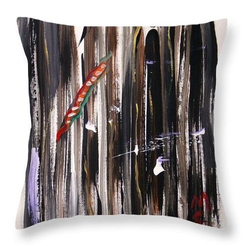 Vertical Throw Pillow featuring the painting Almost Vertical by Mary Carol Williams