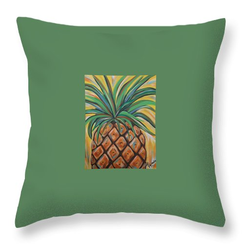 Aloha Throw Pillow featuring the painting Aloha by Angela Miles Varnado