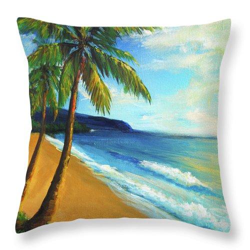 Beach Throw Pillow featuring the painting Aloha by Hanako Hawaii