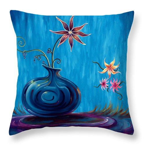 Fantasy Floral Scape Throw Pillow featuring the painting Aloha Rain by Jennifer McDuffie