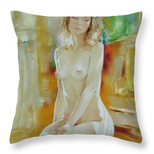 Art Throw Pillow featuring the painting Alone At Home by Sergey Ignatenko