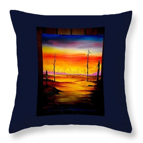 Landscape Throw Pillow featuring the painting Alone by Glory Fraulein Wolfe