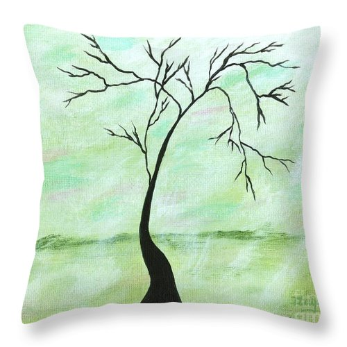 Abstract Throw Pillow featuring the painting Alone I Waited by Itaya Lightbourne
