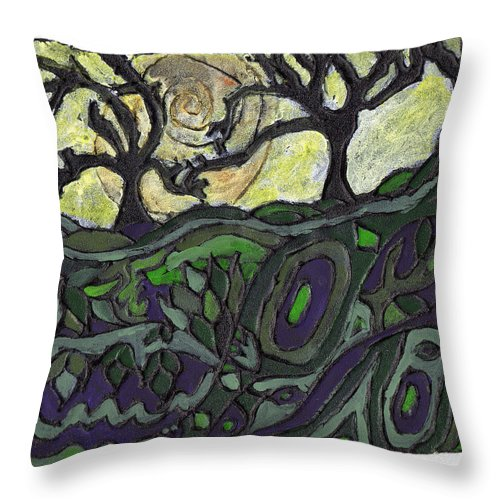 Woods Throw Pillow featuring the painting Alone In The Woods by Wayne Potrafka