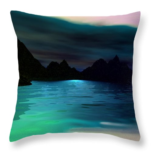 Seascape Throw Pillow featuring the digital art Alone On The Beach by David Lane