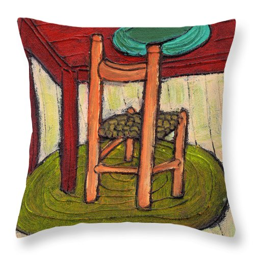 Kitchen Throw Pillow featuring the painting Alone by Wayne Potrafka