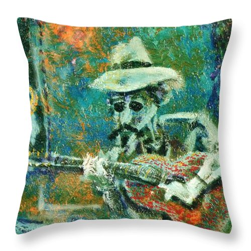 Music Throw Pillow featuring the painting Alone With The Blues by Dennis Tawes