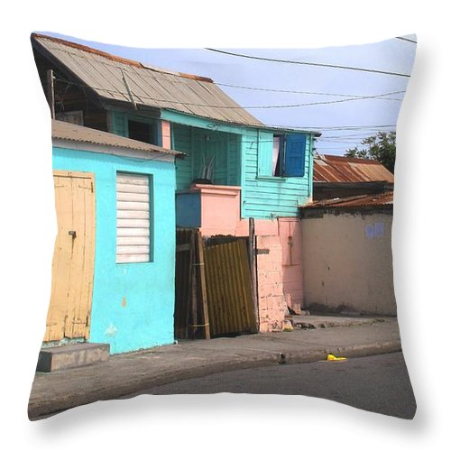 St Kitts Throw Pillow featuring the photograph Along Bay Road by Ian MacDonald