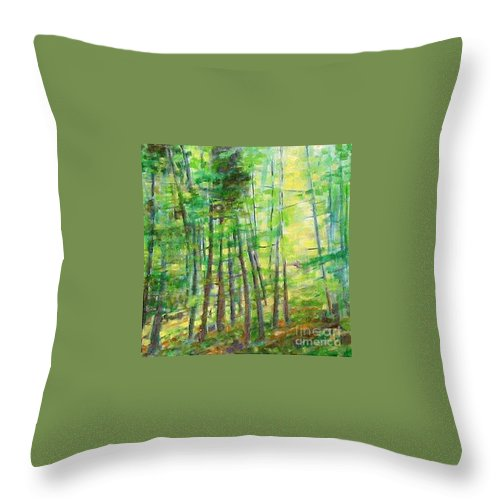 Landscape Throw Pillow featuring the painting Along Buckslide Road by Karen Sloan