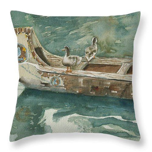 Duck Throw Pillow featuring the painting Along For The Ride by Arline Wagner
