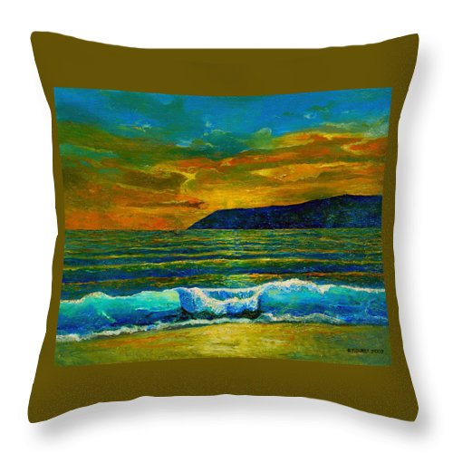 Seascape Throw Pillow featuring the painting Along The African Coast by Michael Durst