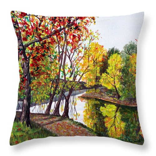 Blanchard River Throw Pillow featuring the painting Along The Blanchard by Nancy Cupp