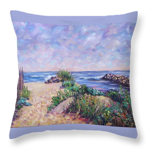 Shore Throw Pillow featuring the painting Along The Breachway Rhode Island by Richard Nowak