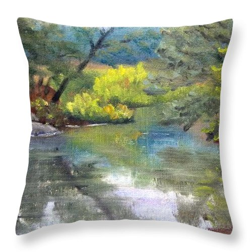Reflections Throw Pillow featuring the painting Along the Exeter River by Sharon E Allen