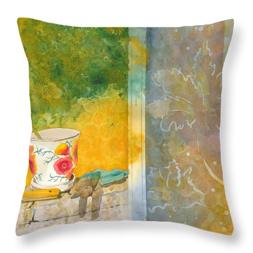 Garden Throw Pillow featuring the painting Along The Garden Wall by Jean Blackmer