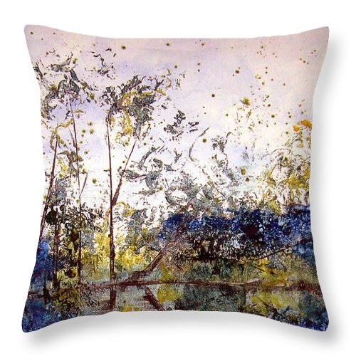Abstract Throw Pillow featuring the painting Along The River Bank by Ruth Palmer