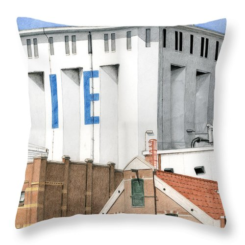 Mixed Media Throw Pillow featuring the mixed media Along The River Zaan Lassie Silo by Rob De Vries