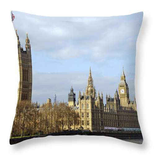 London Throw Pillow featuring the photograph Along The Thames by Stephen Anderson