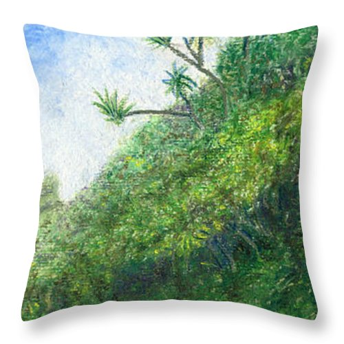 Coastal Decor Throw Pillow featuring the painting Along The Trail by Kenneth Grzesik