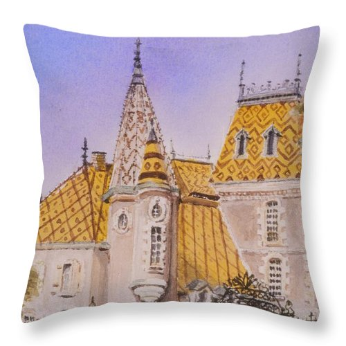 Vineyard Throw Pillow featuring the painting Aloxe Corton Chateau Jaune by Mary Ellen Mueller Legault