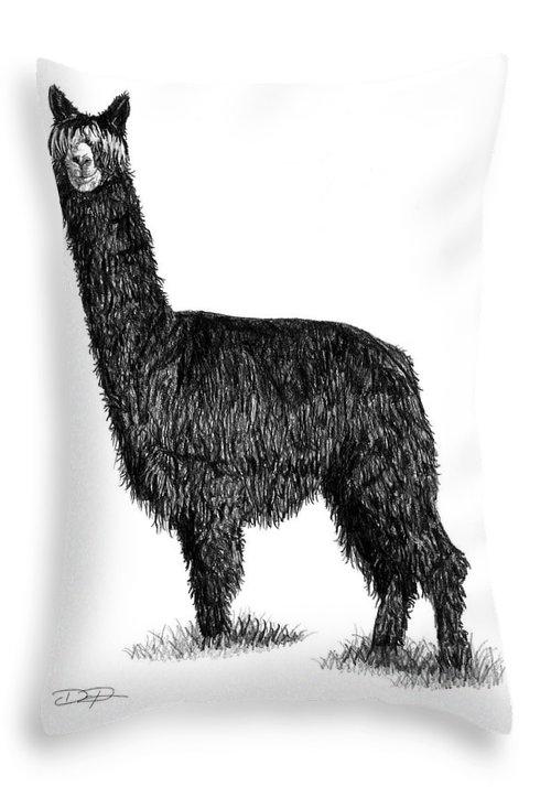 Alpaca Throw Pillow featuring the drawing Alpaca Fine Art by Dan Pearce