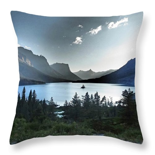 St. Mary Lake Throw Pillow featuring the photograph Alpine Dusk by Stephanie McGuire