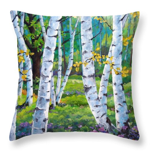 Birche; Birches; Tree; Trees; Nature; Landscape; Landscapes Scenic; Richard T. Pranke; Canadian Artist Painter Throw Pillow featuring the painting Alpine Flowers And Birches by Richard T Pranke
