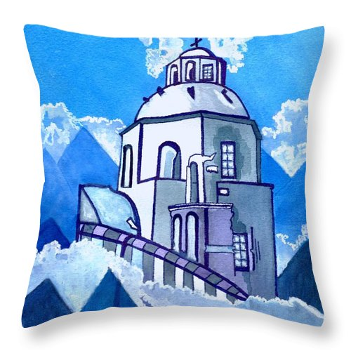 Blue Sky Throw Pillow featuring the painting Already In Heaven by Connie Valasco