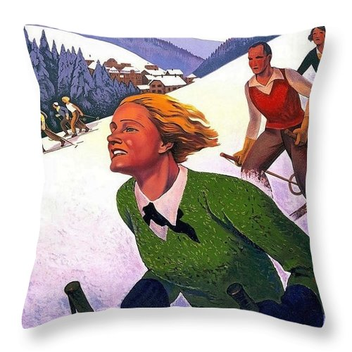 Alsace Throw Pillow featuring the painting Alsace, Lorraine Railways, France by Long Shot