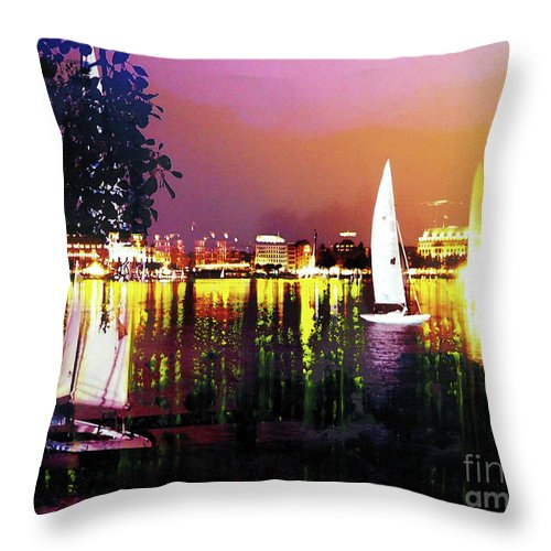 Mixed Media Throw Pillow featuring the mixed media Alster In The Evening by Nica Art Studio