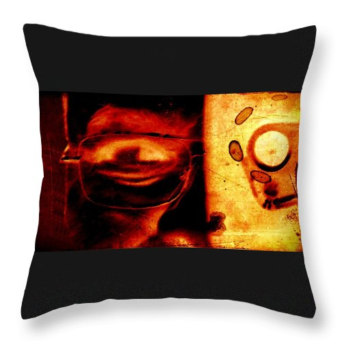 Altered Photography Throw Pillow featuring the photograph Altered Image In Red by Dan Twyman