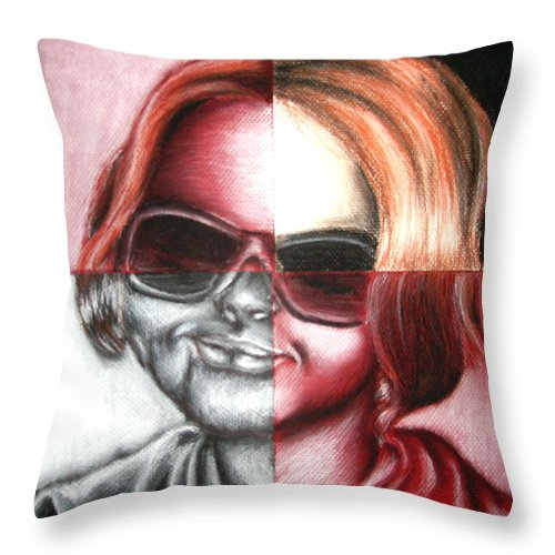 Split Throw Pillow featuring the drawing Always Divided by Ashley Warbritton
