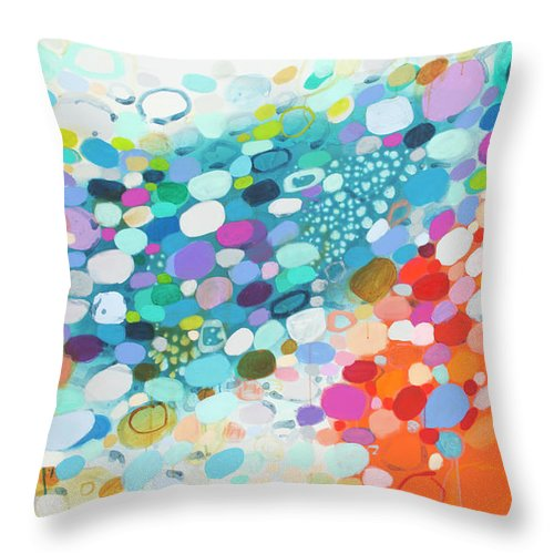 Abstract Throw Pillow featuring the painting Always Looking For True Love by Claire Desjardins