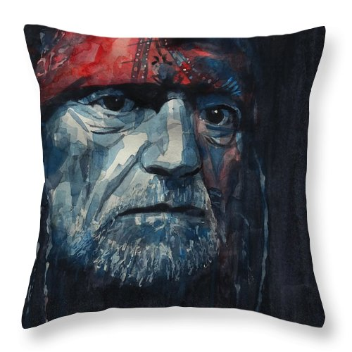 Willie Nelson Throw Pillow featuring the painting Always On My Mind - Willie Nelson by Paul Lovering