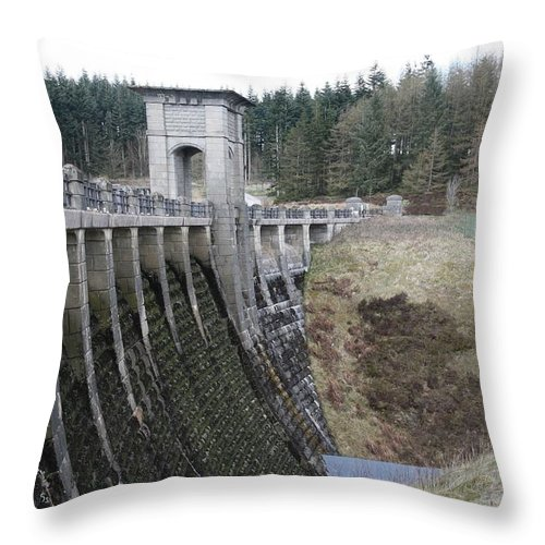 Dams Throw Pillow featuring the photograph Alwen Reservoir Dam by Christopher Rowlands