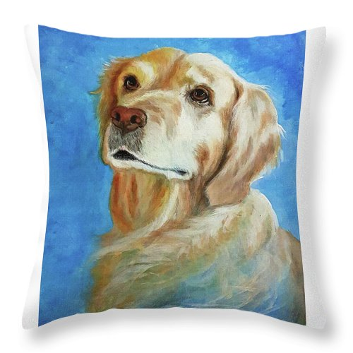 Golden Retriever Throw Pillow featuring the painting Aly Rose by Perri Kelly