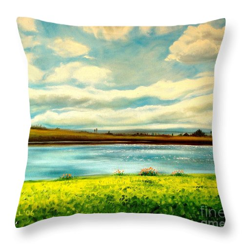 Landscape Throw Pillow featuring the painting Am I Dreaming by Elizabeth Robinette Tyndall