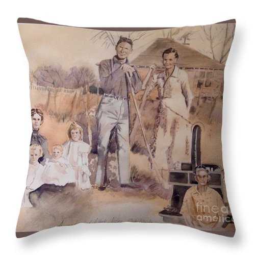 Vintage Throw Pillow featuring the painting Amanda And Athole Milne Collage by Diane Renchler