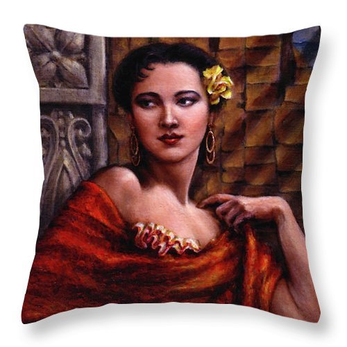 Occupy China Throw Pillow featuring the painting Amarillo Rose by Jane Bucci