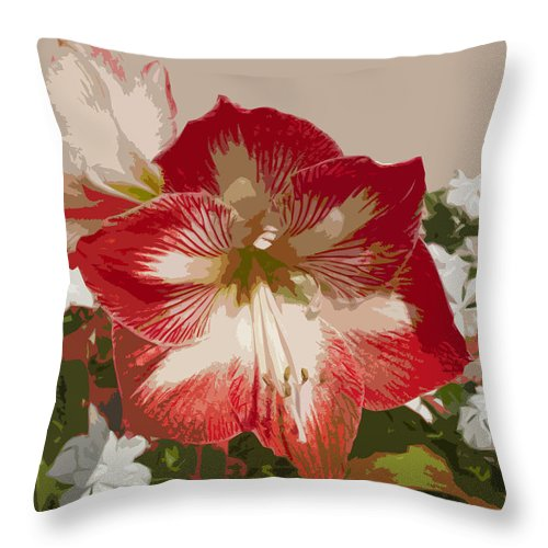 Amaryllidaceae Throw Pillow featuring the painting Amaryllidaceae Hippeastrum Stargazer Amaryllis by Allan Hughes
